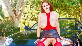 Big breasted milf Eva Notty in red stockings poses outside beside her luxury car. Playful woman in short skirt pulls out her massive natural tits and flashes her beaver with no shame!