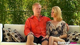 Swinger party wife sharing interracial babes