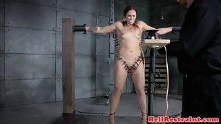 Tattooed bdsm sub dominated with clamps