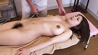 Delightful Oriental chick gets her hairy beaver fingered to