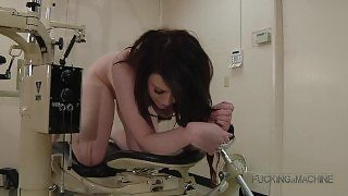 Naked Slut Gets on All Fours to be Machine Fucked to Moaning Orgasms