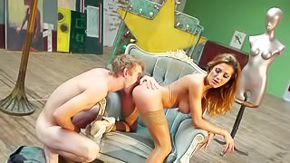 Smoking hot brunette bombshell Alice Romain with big jaw dropping hooters and smoking hot ass in stockings and white shoes gives head to young pale Danny D and gets banged hard