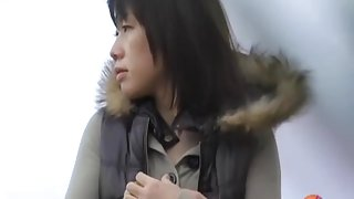 Beautiful Asian girl got exposed to public nudity by a shark