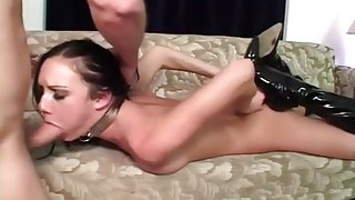 Taylor Rain In Leather Boots Gets Fucked In Both Holes Deep