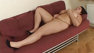 Breasty big beautiful woman Warms up her juicy cookie, then receives some dick