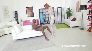 Interracial anal with a BBC for a pale redhead slut