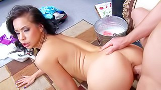 Kimmy Lee is a dangerously horny exotic MILF with big tits. She gets her big melons and her tight shaved asian pussy fucked good and hard by her sons roommate Jessy Jones. Watch big titted mom fuck like crazy!