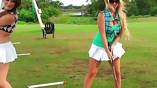 Two sluts playing golf, and after good old game they decided to lick each other pussy, They will show you what threesome is! Enjoy the amazing threesome!
