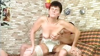 Hairy Granny Pussy Strokes Younger Cock