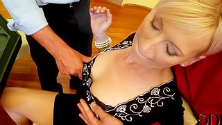 Her husband is a loser and she gets used by his friends after poker game. Lovely european blonde woman turns them on. They put their hands on her boobs in front of her unlucky husband