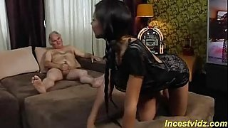 Incredible sweet granddaughter fucking with her grandpa at home