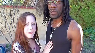 Sindee Jennings is a hot pale skinned chick that loves having with big black dick. She strips down to her lingerie and gives head to her dark skinned buddy. Then she removes her panties to get her fuck hole stuffed