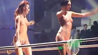 Topless gogo girls rave disco party stage in russia